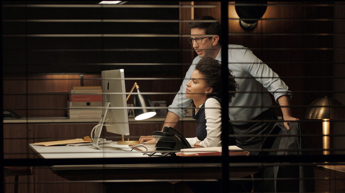 """Still of Zazie Beetz and David Schwimmer from the short film """"The Boss"""" directed by Sigal Avin."""